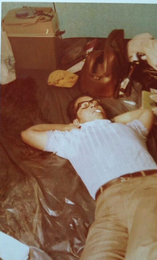 Carin's vader slapend, foto uit jaren 70